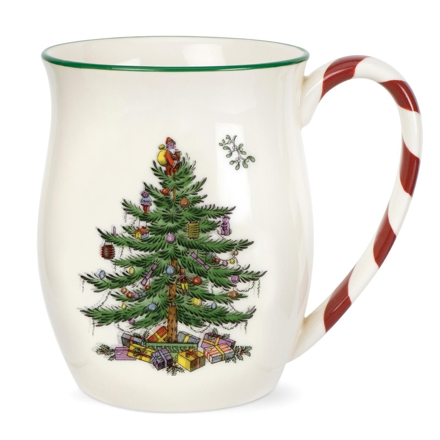 Spode Christmas Tree Mug with Peppermint Handles Set of 2);