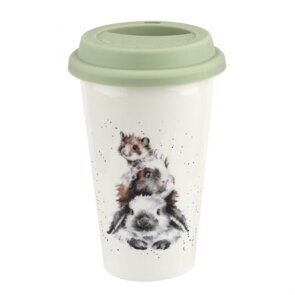 E537 Royal Worcester Wrendale Designs Piggy in the Middle Travel Mug
