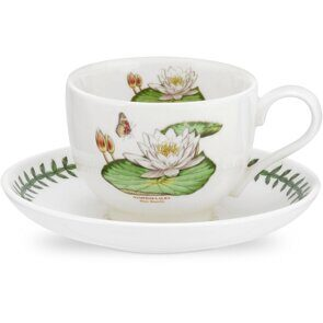 K91 Portmeirion Exotic Botanic Garden Tea Cup and Saucer White Waterlily