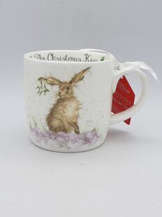 4P104 Кружка Royal Worcester Wrendale Designs The Christmas Kiss Hare Fine Bone China Mug, England