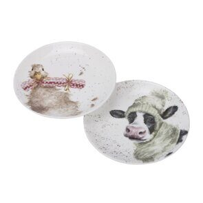 D517 Royal Worcester Wrendale Designs Cow & Duck Coupe Plates - Set of 2