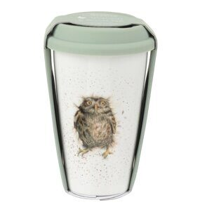 D817 Royal Worcester Wrendale Designs Owl Travel Mug with Silicone Lid England