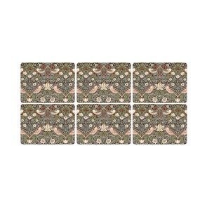 K45 Pimpernel Strawberry Thief Brown Placemats Set of 6, Morris