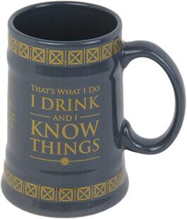 D657 Game of Thrones MGS24848 Multi Coloured 21oz/595ml Drink & Know Things Ceramic Stein Shaped Mug