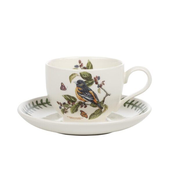 K85  Portmeirion Botanic Garden Birds Cup and Saucer Baltimore Oriole