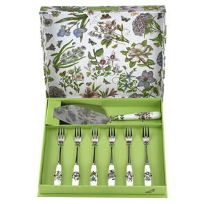 C294 Сет 6 десертных вилок Botanic Garden Вилки и лопатка для торта Pastry Forks set of 6, Portmeirion, England)