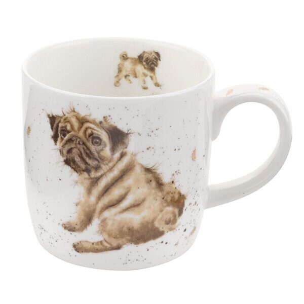 Royal Worcester Wrendale Designs Pug Love Fine Bone China Mug 1