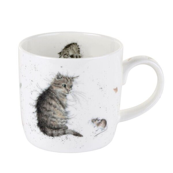 4P76 Royal Worcester Wrendale Designs Cat and Mouse Fine Bone China Mug,  Royal Worcester, England
