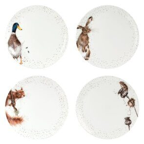 K148 Royal Worcester Wrendale Designs 10.5 Inch Coupe plates Set of 4 Hare, Squirel Mouse & Duck
