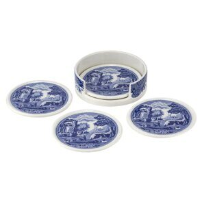 K202 Spode Blue Italian Ceramic Coasters with Holder