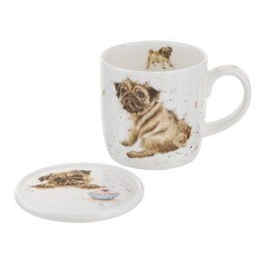 4P130 Кружка и подставка  Royal Worcester Wrendale Designs Pug Love Mug and Coaster, England