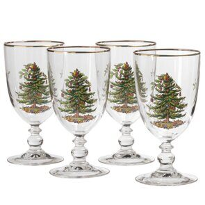 E500 Spode Christmas Tree Goblet Set of 4, England
