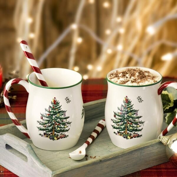 Сет 2 кружки Christmas Tree Mug with Peppermint Handles, Portmeirion, England