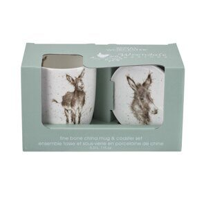 D816 Royal Worcester Wrendale Designs Gentle Jack Mug and Coaster Donkey England
