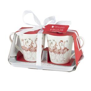4P120 Сет 2 чашки и подносик Royal Worcester Wrendale Designs Christmas Collection Flamingle Bells Mug & Tray Set, England