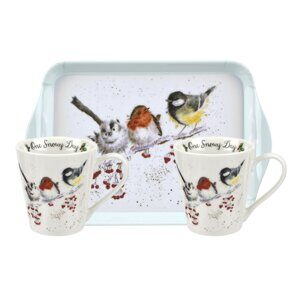 D808 Сет две чашки и подносик Pimpernel Wrendale Designs Mug and Tray Set - One Snowy Day Birds England