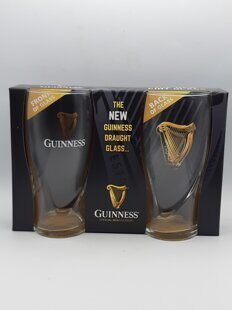 C480 Набор - два стакана для пива Guinness Logo Two-Pack Pint Glass Set With Embossed Gold HarpЕВ07C480 Official Guinness Merchandise, Ирландия