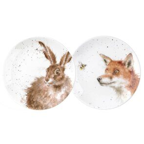 4P168 Пара тарелок  Royal Worcester Wrendale Designs 6.5 Inch Coupe plates Set of 2 Fox and Hare, England