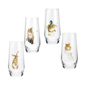 E515 Royal Worcester Wrendale Designs Assorted Country Animals Hi-Ball Glasses Set of 4, England