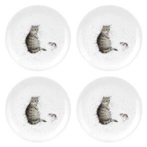 D519 Royal Worcester Wrendale Designs Coupe Plate - Cat & Mouse Set of 4