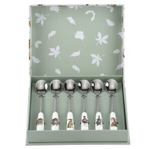 4P119 Сет 6 чайных ложек Royal Worcester Wrendale Designs Tea Spoons Set of 6, England