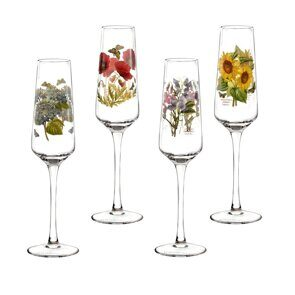 E503 Portmeirion Botanic Garden Champagne Flutes Glasses Set of 4 Assorted Motifs, England