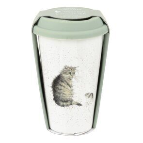 D815 Royal Worcester Wrendale Designs Cat Travel Mug with Silicone Lid England