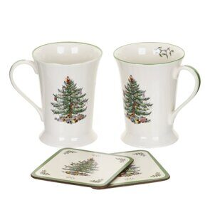 5P140 Pimpernel Christmas Tree 2 Mugs & 2 Coasters Set, England