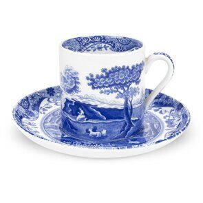 K117  Coffee Cup and Saucer- Blue Italian