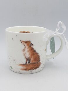 4P114 Кружка  Royal Worcester Wrendale Designs The Artful Poacher Fox Fine Bone China Mug, England
