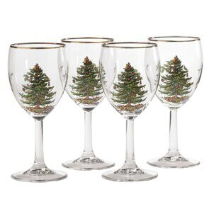 E501 Spode Christmas Tree Wine Glass Set of 4, England