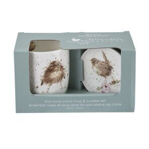 E538 Royal Worcester Wrendale Designs Flying the Nest Mug and Coaster Bird