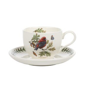 K82 Portmeirion Botanic Garden Birds Cup and Saucer Scarlet Tanager