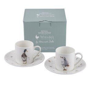 D807 Сет две чашечки для эспрессо Royal Worcester Wrendale Designs Demitasse Cups & Saucers Set of 2 England