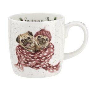 D805 Кружка Royal Worcester Wrendale Designs Snug as a Pug Dog Fine Bone China Mug, England