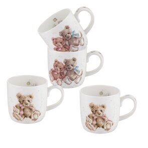 D526 Royal Worcester Wrendale Designs Vintage Bears Gift Set of 4 Mugs