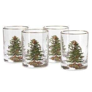 E506 Spode Christmas Tree Double Old Fashioned Tumbler Set of 4, England