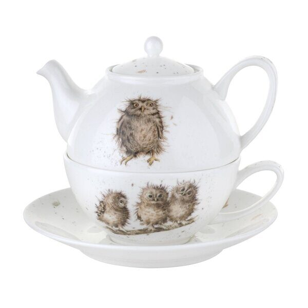 D540 Royal Worcester Wrendale Designs Owl Tea For One with Saucer,  Royal Worcester, England