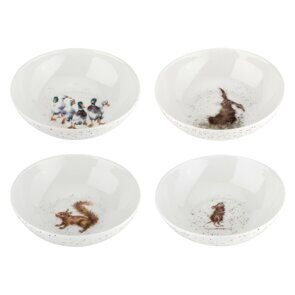 K108 Royal Worcester Wrendale Designs Bowls Set of 4 Duck, Hare, Squirrel and Mouse