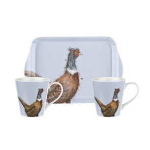 D811 Сет две чашки и подносик Pimpernel Wrendale Designs Mug and Tray Set - Pheasant England