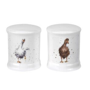 4P124 Сет для соли и перца Royal Worcester Wrendale Designs Salt & Pepper Pots Ducks,  England