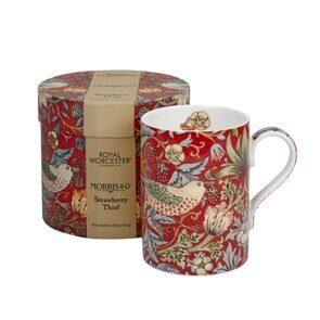 K29 Morris and Co for Royal Worcester Strawberry Thief Crimson Slate Fine Bone China Mug