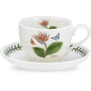 K90 Portmeirion Exotic Botanic Garden Tea Cup and Saucer Bird of Paradise