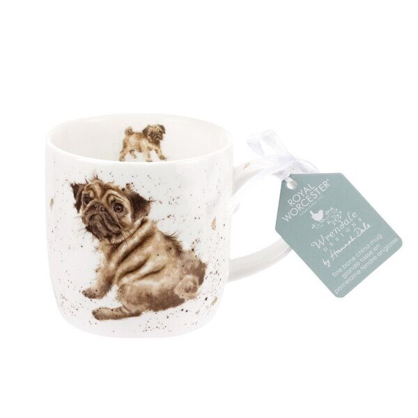4P80 Кружка Royal Worcester Wrendale Designs Pug Love Fine Bone China Mug, England