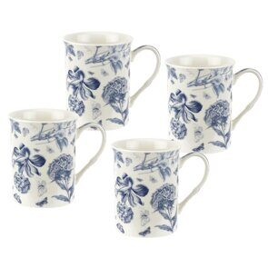 D528 Portmeirion Botanic Blue 12 oz Mugs Set of 4