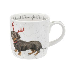 D502 Royal Worcester Wrendale Designs Dachschund Through The Snow Mug