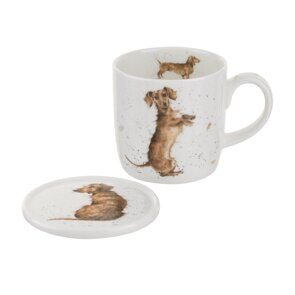 4P131 Кружка и подставка  Royal Worcester Wrendale Designs Hello Sausage Mug and Coaster Dog, England