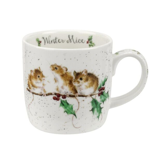 Royal Worcester Wrendale Designs Winter Mice Fine Bone China Mug